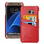 For Samsung Galaxy S7 Edge / G935 Litchi Texture Fashion Genuine Leather Back Cover Case with Card Slots(Red)