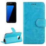 For Samsung Galaxy S7 / G930 Crazy Horse Texture Horizontal Flip Magnetic Snap Leather Case with Adjustable Holder & Card Slots