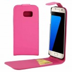 For Samsung Galaxy S7 / G930 Plain Texture Vertical Flip Leather Case Waist Bag with Magnetic Buckle & Card Slot(Magenta)