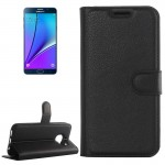For Samsung Galaxy Note 5 / N920 Litchi Texture Horizontal Flip Leather Case with Holder & Card Slots & Wallet(Black)