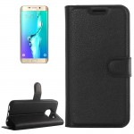 For Samsung Galaxy S6 Edge+ / G928 Litchi Texture Horizontal Flip Leather Case with Holder & Card Slots & Wallet(Black)