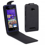 Vertical Flip Leather Case for HTC Accord / 8X (Black)