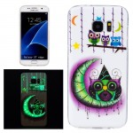 For Samsung Galaxy S7 Edge / G935 Noctilucent Moon And Owls Pattern IMD Workmanship Soft TPU Protective Case