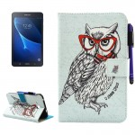 For Samsung Galaxy Tab A 7.0 (2016) / T280 Glasses Owl Pattern Horizontal Flip Leather Case with Holder & Wallet & Card Slots &