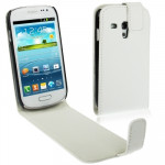 High Quality Vertical Flip Leather Case for Samsung Galaxy SIII mini / i8190(White)