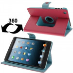 Lichee Texture 360 Degree Rotation Leather Case with Sleep / Wake-up Function & 4 Gear Holder for iPad mini 1 / 2 / 3 (Magenta)