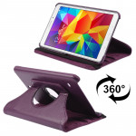 360 Degree Rotatable Litchi Texture Leather Case with 2-angle Viewing Holder for Samsung Galaxy Tab 4 8.0 / SM-T330(Purple)