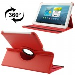 360 Degree Rotatable Litchi Texture Leather Case with Holder for Samsung Galaxy Tab 2 (10.1) / P5100(Red)