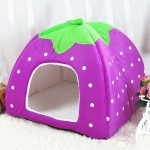 Strawberry Shaped Foldable Short Plush Pet House Nest, Size: M(Purple)
