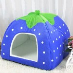 Strawberry Shaped Foldable Short Plush Pet House Nest, Size: M(Dark Blue)