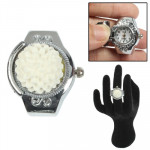 Stylish Finger Ring Quartz Watch / Timepiece Elastic Watch with Flower Style Lid (White)