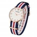 CAGARNY 6813 Fashionable Ultra Thin Rose Gold Case Quartz Wrist Watch with 5 Stripes Nylon Band for Women(Red)