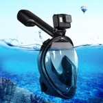 PULUZ 220mm Tube Water Sports Diving Equipment Full Dry Snorkel Mask for GoPro HERO5 /4 /3+ /3 /2 /1, S/M Size(Black)