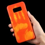 For Samsung Galaxy S8 + / G9550 Paste Skin + PC Thermal Sensor Discoloration Protective Back Cover Case(Orange)