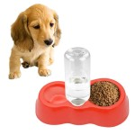 Dog Cat Food Dish + Drinking Water Double Bowls with Automatic Water Dispenser (Red)