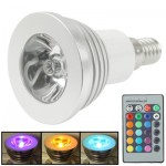 E14 3W RGB Flash LED Light Bulb with Remote Controller, AC 85-265V, Luminous Flux: 240-270lm