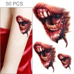 50 PCS Halloween Terror Realistic Wound Blood Mouth Temporary Tattoo Sticker