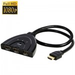 3x1 Pigtail HDMI Switcher Up to 1080P (Gold Plated)(Black)