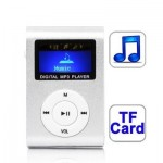 TF (Micro SD) Card Slot MP3 Player with LCD Screen, Metal Clip(Silver)