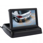 4.3 inch Folding Car Rearview LCD Monitor, 2 Channels AV Input(Black)