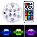 Cylinder Remote Controlled Waterproof Submersible LED Light with 10 LED Lights & Remote Controllor, Remote Control Range(in Open