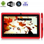 Tablette Tactile rouge 7 pouces Tactile, 512 Mo + 4 Go, Android 4.2.2, 360 degrés de rotation du menu, Allwinner A33 Quad-cor...