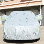 PEVA Anti-Dust Waterproof Sunproof Sedan Car Cover with Warning Strips, Fits Cars up to 4.5m(176 Inches) In Length