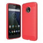 For Motorola Moto G(5th Gen.) Brushed Carbon Fiber Texture Shockproof TPU Protective Cover Case(Red)