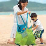 Portable Mesh Children Beach Dredging Tools Toy Quick Storage Bag Handbag