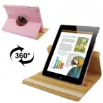 360 Degree Rotatable Leather Case with Sleep / Wake-up Function & Holder for New iPad (iPad 3)(Pink)