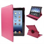 360 Degree Rotatable PU Leather Case with Holder for New iPad (iPad 3) / iPad 2 / iPad 4, Red Plum