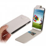 Pure Color Vertical Flip Leather Case with Credit Card Slot for Samsung Galaxy S IV / i9500(White)