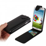 Pure Color Vertical Flip Leather Case with Credit Card Slot for Samsung Galaxy S IV / i9500(Black)