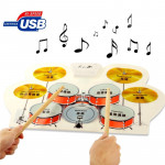 Digital Silicone USB MIDI Roll Up Flexible Musical Drum Kit for Kids, Model: W758, Size: 57cm x 31cm