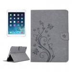 For iPad Air 2 Pressed Flowers Butterfly Pattern Horizontal Flip PU Leather Case with Magnetic Buckle & Holder & Card Slots & Wa