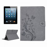 For iPad 4 Pressed Flowers Butterfly Pattern Horizontal Flip PU Leather Case with Magnetic Buckle & Holder & Card Slots & Wallet
