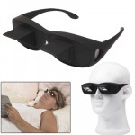Creative High Definition Horizontal Crystal + Plastic Lie Down Glasses(Black)