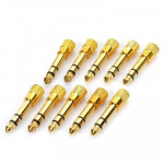 10 pcs 6.35mm Male to 3.5mm Female Audio Jack Adapters