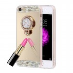 For iPhone 5 & 5s & SE Diamond Encrusted Electroplating Mirror Protective Cover Case with Hidden Ring Holder (Gold)