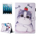 For iPad mini 4 / 3 / 2 / 1 Painting Tomato and Cat Pattern Horizontal Flip Leather Case with Holder & Wallet & Card Slots & Pen