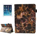 For iPad 9.7 inch 2017 / iPad Air / iPad Air 2 Universal Black and Gold Marble Pattern Horizontal Flip Leather Protective Case w
