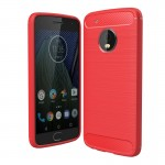 For Motorola Moto G5 Plus Brushed Carbon Fiber Texture Shockproof TPU Protective Cover Case(Red)
