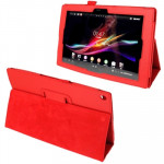 Litchi Texture Leather Case with Holder for Sony Xperia Tablet Z / 10.1(Red)