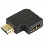 Gold Plated HDMI 19 Pin Male to HDMI 19 Pin Female Adaptor with 90 Degree Angle(Black)