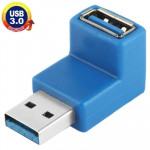 USB 3.0 AM to USB 3.0 AF Cable Adapter with 90 Degree Angle (Blue)
