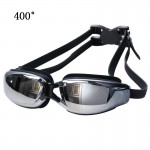 Electroplating Anti-fog Silicone Swimming Goggles for Adults, Suitable for 400 Degree Myopia(Black)