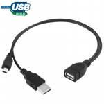 Mini USB Male + USB 2.0 AM to AF Cable with OTG Function, Length: 30cm / 35cm