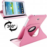 360 Degrees Rotation Litchi Texture Leather Case with Holder for Samsung Galaxy Tab 3 (7.0) / P3200 / P3210(Pink)