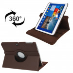 360 Degree Rotation Litchi Texture Leather Case with Holder for Samsung Galaxy Tab 3 (10.1) / P5200 / P5210, Brown(Brown)