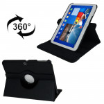 360 Degree Rotation Litchi Texture Leather Case with Holder for Samsung Galaxy Tab 3 (10.1) / P5200 / P5210, Black(Black)